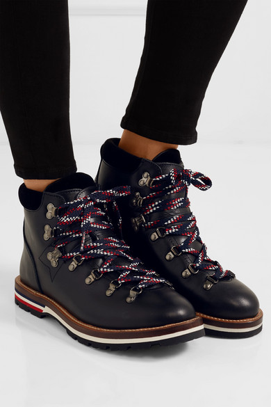 Billiges Outlet-Store Moncler Blanche Ankle Boots aus Leder mit Samtbesatz Spielraum Rabatte Sauber Und Klassisch kRPye