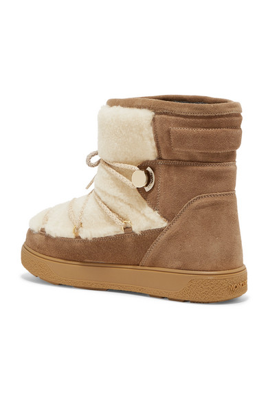 For Sale Buy Authentic Online Moncler New Fanny Shearling-paneled Glittered Suede Snow Boots - Tan Brand New Unisex Sale Online MdnqWHr6