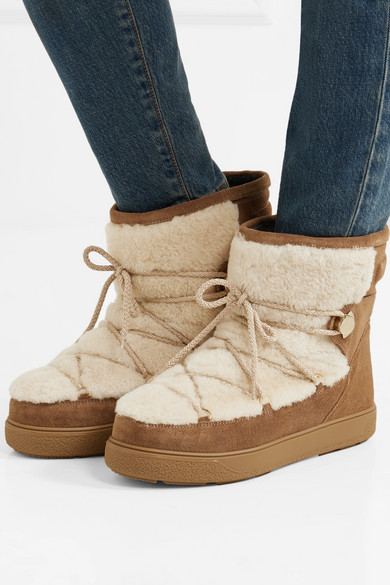 Moncler | New Fanny shearling paneled glittered suede snow