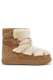 Moncler New Fanny shearling-paneled glittered suede snow boots