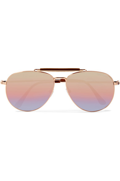 2da29122009ab TOM FORD. Sean aviator-style rose gold-tone mirrored sunglasses