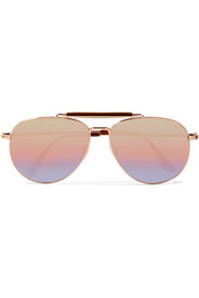 Sean aviator-style rose gold-tone mirrored sunglasses