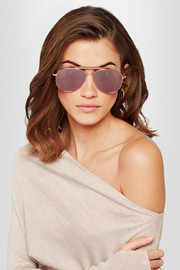TOM FORD Sean aviator-style rose gold-tone mirrored sunglasses