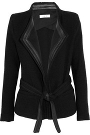 IRO Leather-trimmed wool-blend bouclé jacket