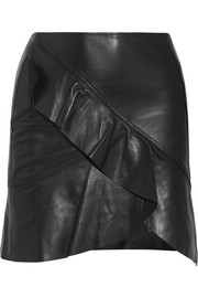 IRO Ruffled leather wrap-effect mini skirt