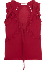 IRO Ruffled cutout chiffon top