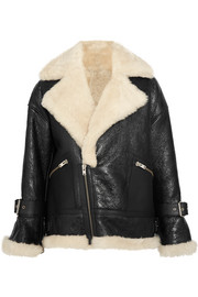 IRO Textured-leather and shearling coat