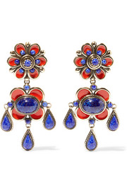 Enameled gold-tone earrings