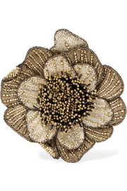 Beaded corduroy brooch