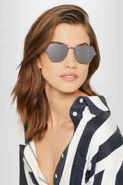 Henly hexagon-frame gunmetal-tone mirrored sunglasses