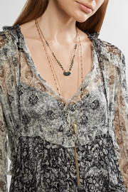 Isabel Marant Tasseled gold-tone beaded necklace