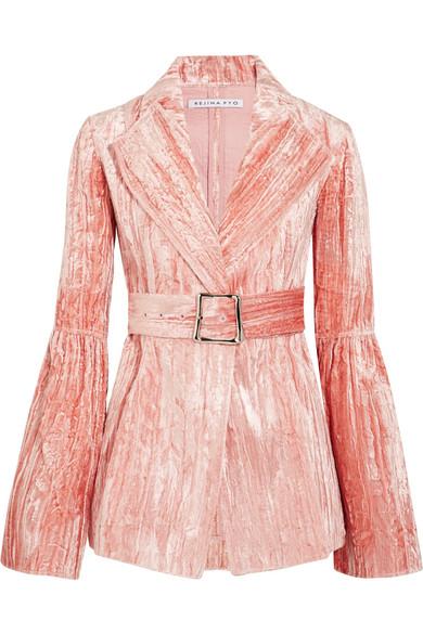 Rejina Pyo - Claire Belted Crushed-velvet Jacket - Pink