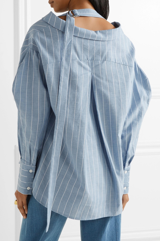 REJINA PYO Rosa pinstriped cotton and linen-blend shirt