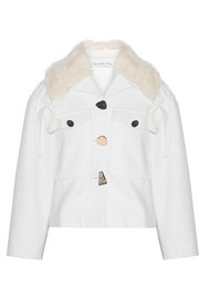Daphne faux fur-trimmed wool-blend jacket