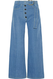 Emily belted high-rise wide-leg jeans