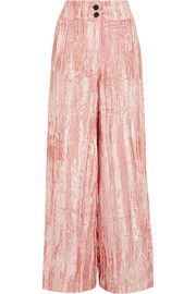 Rejina Pyo Beatrice crushed-velvet wide-leg pants