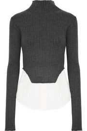 Rejina Pyo Allie ribbed-knit and cotton-blend poplin top