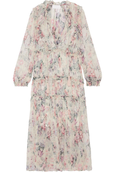 Zimmermann - Jasper Ruffle-trimmed Floral-print Silk-crepon Dress - Cream