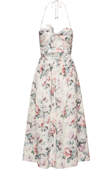 Zimmermann - Jasper Printed Cotton-voile Halterneck Dress - Pastel pink