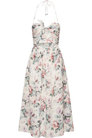 Zimmermann Jasper printed cotton-voile halterneck dress
