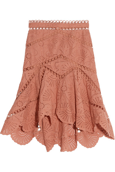 Zimmermann - Japser Asymmetric Broderie Anglaise Cotton Mini Skirt - Antique rose
