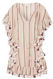 Zimmermann Jasper tasseled striped cotton-voile mini dress