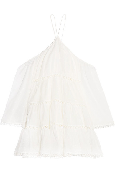 Zimmermann - Jasper Cold-shoulder Tiered Polka-dot Cotton Mini Dress - White