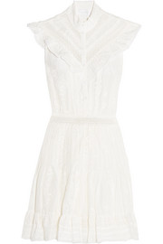 Zimmermann Tulsui lace-trimmed ruffled embroidered cotton mini dress