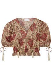 Zimmermann Tulsi cropped crochet-trimmed printed linen blouse