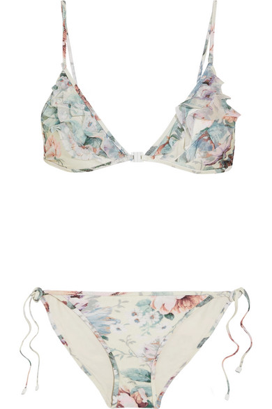 Zimmermann - Jasper Ruffled Tulle-trimmed Printed Triangle Bikini - Light denim