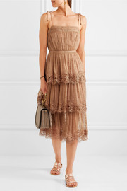 Meridian Circle lace-trimmed embroidered silk-georgette dress