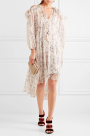 Paradiso Floating ruffled floral-print silk-crepon dress