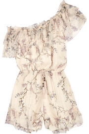 Curacao one-shoulder printed silk-chiffon playsuit