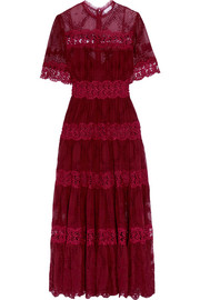 Curacao lace-trimmed broderie anglaise silk-georgette maxi dress