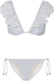 Meridian ruffled striped broderie anglaise triangle bikini