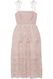 Zimmermann Meridian poplin-trimmed striped broderie anglaise cotton dress