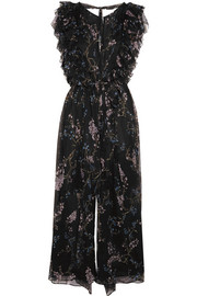 Paradiso Floating ruffled printed silk-georgette jumpsuit