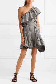 One-shoulder gingham linen and cotton-blend mini dress