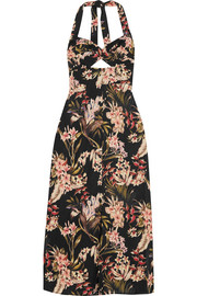 Curacao floral-print cotton-voile halterneck midi dress