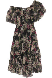 Curacao off-the-shoulder printed crinkled silk-chiffon dress