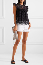 Zimmermann Meridian ruffle-trimmed broderie anglaise top