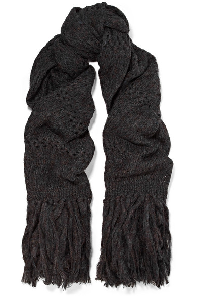 Dylan Oversized Fringed Open-knit Scarf - Charcoal Isabel Marant quH2J