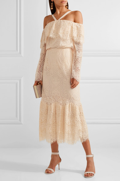 Off-the-shoulder Corded Lace Top - Peach Jonathan Simkhai
