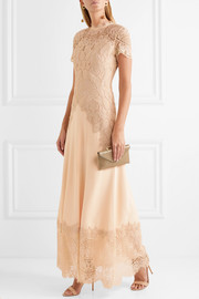 Crepe and lace gown
