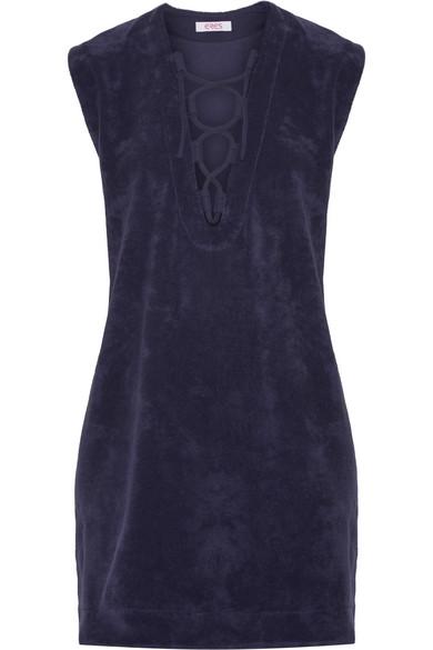 Alison Lace-Up Cotton-Terry Dress, Dark Purple