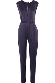 Gallery lace-up washed-silk jumpsuit