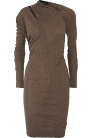 Timans cutout draped metallic ribbed-knit dress