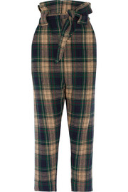 New Kung Fu tartan wool-blend tapered pants