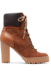 See by Chloé Leather-trimmed nubuck ankle boots
