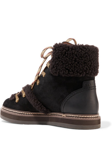 Chloé Shearling-Trimmed Suede Boots discount shop cheap sale nicekicks 3PNMNU7fp